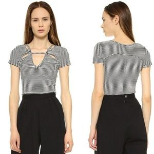 Free People Black and White Frenchie Top Size L